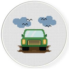 Charts Club Members Only: Green Car Cross Stitch Pattern