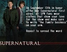 everybody in the Supernatural Fandom do this to show your NEVER ending loyalty ! I'll be at work, but I'll wear my SPN necklace, earrings, and bracelet. september is 2 days away from my bday too John Winchester, Winchester Brothers, Jeffrey Dean Morgan, Jared Padalecki, Jensen Ackles, Supernatural Memes, Supernatural Jewelry, Supernatural Tattoo, Supernatural Wallpaper