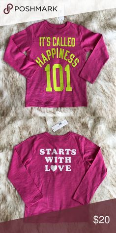 """Girls Peek""""happiness""""  t-shirt Pink, green and white """"Happiness starts with love """" long sleeve t-shirt. Peek Shirts & Tops Tees - Long Sleeve"""