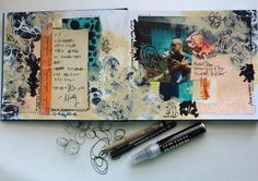 Get Messy Art Journal Membership - Season of Music. This is beautiful. I love the stamping of the words. The composition is very cool. My kind of art journal page.