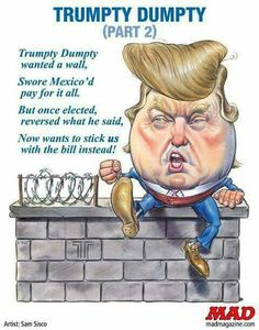 """Apparently, Trump's wall will be paid for by the U.S. government via new """"taxes"""" we, the people have to pay. Then, via 20% duty tax on Mexican goods, the U.S. government will be reimbursed.  Notice what's missing from this equation yer? WE WON'T GET OUR """"TAX""""DOLLARS BACK! If you actually believe that the government will eventually reimburse us for all those billions, then you might need a refresher course on U.S. politics."""