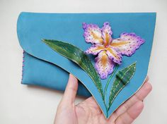 Blue leather clutch with purple iris flower Floral by spiculdegrau