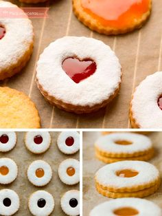 Cookie Desserts, Cookie Recipes, Dessert Recipes, Linzer Cookies, Doughnut, Cheesecake, Sweets, Baking, Food