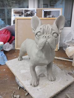 French Bulldog Sculpture, by Joanne Cooke Pottery Animals, Ceramic Animals, Clay Animals, Ceramic Art, Dog Sculpture, Animal Sculptures, Clay Projects, Clay Crafts, Cãezinhos Bulldog