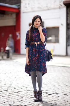 Asymetrical hem and wintery warm tights #dress #winter