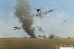 Battle of Britain, Manston, 12th August 1940 by Gerald Coulson. (Y)  A surprise dive bombing attack at 12.45pm as Spitfires of 65 squadron were taking off. 148 bombs were dropped on the airfield and hangars. The entire squadron got airborne with one exception, its engine was stopped by the blast from one of the bombs.