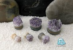 Rough cut amethyst stone plugs <3