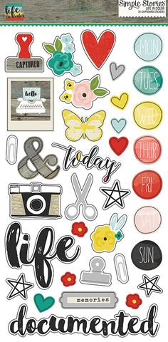 Simple Stories - Life In Color Collection - Chipboard Stickers