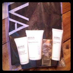 AHAVA gift bundle, NIP 4 luxury travel size products with Ahava bag Ahava Makeup