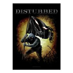 Disturbed Face Fabric Poster Flag featuring the band's mascot The Guy carrying a flag with The Guy Face. 30 x 40