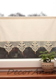 Crochet curtain curtain with crochet lace valance cafe
