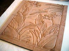 Val Webb pottery carving nouveau lines ceramics clay egret tile