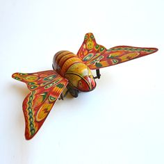 Vintage tin toy butterfly tin litho Japan