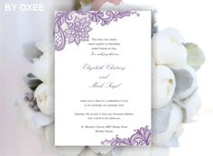 Printable Wedding invitation template Vintage Lavender by Oxee, $7.00