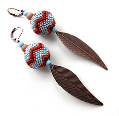 Ethnic Seed Bead Earrings with metallic feathers by Anabel27shop,+$23.00