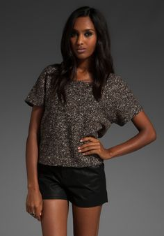 TIBI Tweedy Knit Easy Top in Brown Multi at Revolve Clothing