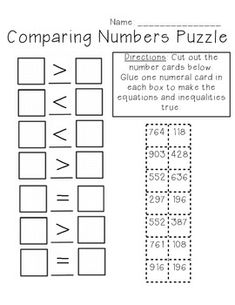 Comparing Numbers Puzzle 3-digit freebie
