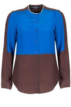 Colour blocked cobalt blue shirt BY HUEMN