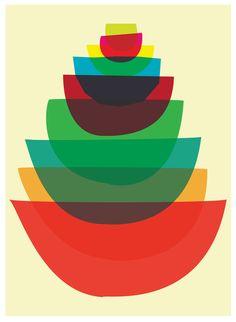 Bowl Stack - Mid Century Modern inspired Mod Kitchen Art Giclee Print.