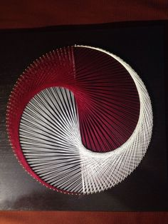 string art portrait yin yang red white black circle picture square in Art, Textile Art & Fiber Art String Art Diy, String Crafts, Hobbies And Crafts, Arts And Crafts, Diy Crafts, Resin Crafts, Arte Linear, Art Du Fil, String Art Patterns