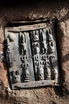 Africa | Granary door from the Dogon people of Mali, in the village of Begnamatou | ©Dave Beere