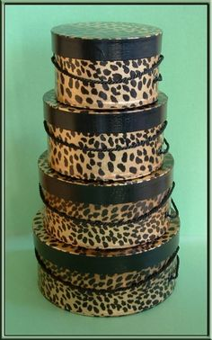 HAT BOXES -  Textured Leopard Pattern Miniature Millinery Elegant