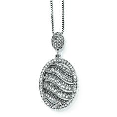 Sterling Silver & CZ Brilliant Embers Polished Oval Necklace QMP130-18