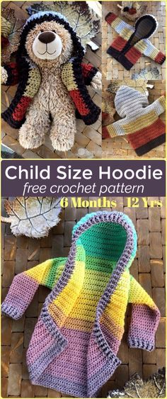 Crochet Kids Hoodie Sweater Coat  Free Pattern - Crochet Kid's Sweater Coat Free Patterns