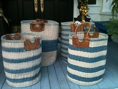 hand-made striped cotton baskets from India