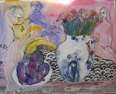 Figures, fruit and flowers, Camaret - Lydia Corbett Artist Sketchbook, Galleries In London, Artist Portfolio, Pablo Picasso, Online Art Gallery, Sell Your Art, Ponytail, Watercolour, David