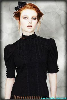 Bridget Ladies Black Gothic-Victorian Blouse | Ladies Gothic