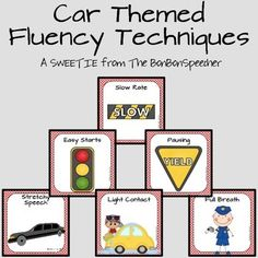 Car Themed Fluency Techniques Posters and Cards by AGB speech therapy