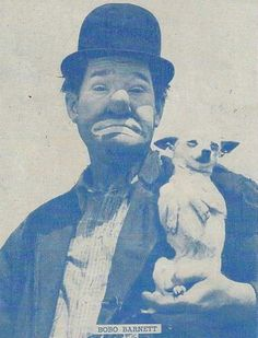 """Bobo Barnett and his one of many dogs that he used in his performances.Chester """"Bobo"""" Barnett (1903–1985) was a clown whose career lasted from the late 1920s to the early 1970s. He played for numerous circuses, most notably with Cole Bros. Clyde Beatty Circus (now known simply as Cole Bros. Circus) and the Shrine Circus.Chester Eugene Barnett was born October 23, 1903 in Tenaha, Texas. His parents were John and Minnie. He had four siblings, Herman, William, Hazel and John."""