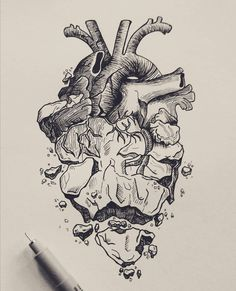 (back cover-up) Heart with flowers growing out it. Dark Art Drawings, Pencil Art Drawings, Tattoo Drawings, Cool Drawings, Art Sketches, Drawing With Pen, Tattoo Sketches, Stylo Art, Herz Tattoo