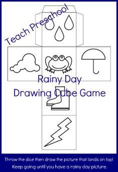 Rainy Day Drawing Cube via www.preschoolspot.com and www.teachpreschool.org #preschool