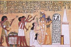 The god Anubis is holding the casket of a pharaoh while others appear to be paying homage. Anubis, who had the head of a jackal, prepared souls for the afterlife and escorted the dead to judgment. Egyptian Era, Ancient Egyptian Art, Anubis, Hispanic American, Latest Discoveries, Religion, African Artists, History Photos, Casket