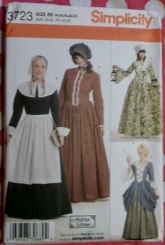 Costume Pilgrim Colonial Frontier Pioneer Gowns Simplicity 3723 Pattern, Plus Sz 14 To 22, Uncut
