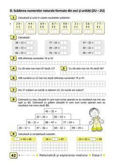 Clasa I : Matematică şi explorarea mediului. Clasa I. Partea I - (E2) Planet Coloring Pages, Thing 1, School Lessons, Worksheets For Kids, Kids Education, Student, Math, Learning, Tiana
