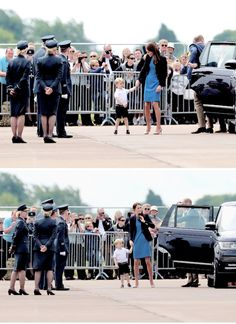 Prince William, Duke of Cambridge, Catherine, Duchess of Cambridge and Prince George arrive for a visit to the Royal International Air Tattoo at RAF Fairford.    8.7.2016
