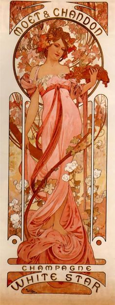Drawing for Moet and Chandon by Alphonse Mucha, 1899