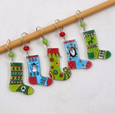Christmas stocking stitch markers winter socks by needleclicksEtc