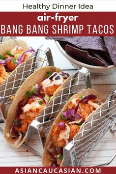 Air Fryer Bang Bang Shrimp Tacos with a sweet and spicy sauce are the perfect quick and healthy recipe your whole family will love! Perfect for a healthy Taco tuesday recipe, this easy dinner or lunch is absolutely delicious! #airfryershrimp #airfryershrimptacos #shrimprecipes #airfryerrecipes Healthy Asian Recipes, Asian Dinner Recipes, Air Fryer Dinner Recipes, Quick Dinner Recipes, Air Fryer Recipes, Quick Meals, Shrimp Tacos, Grilled Shrimp Recipes, Fish Recipes