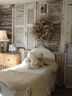 Vintage bedroom ~ I love the wall idea, great for an apartment or rental, where you cannot physically alter anything