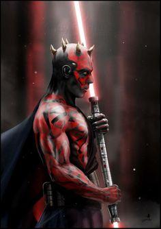 Darth Maul é um Zabrak do planeta Dathomir no universo fictício de Star Wars. Os chifres são a marca registrada de todos os Zabraks.