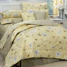 Yellow Floral & Plaid Comforter Set