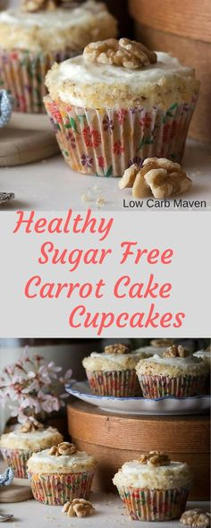These carrot cake cupcakes are the best sugar free and low carb cupcakes