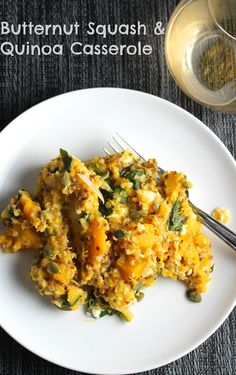 Butternut Squash and Quinoa Casserole is a savory and hearty dish that can be served as a side or a vegetarian main course.   cookingchatfood.com