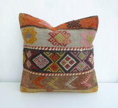 Colorful Kilim Pillow cover Decorative Kilim Sofa by SophiesBazaar, $52.00
