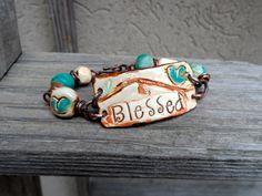 Blessed... Bird Bracelet...inspirational...blue bird on a branch...ceramic beads..Bohemian Jewelry