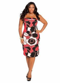 Ashley Stewart Women's Plus Size Strapless Print Linen Tube Dress Red Coat 26  www.curvydress.com #plussize #dress #fashion